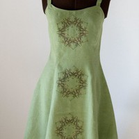 Hemp Linen Summer Dress Original Silkscreen Print | lilgreenshop - Clothing on ArtFire