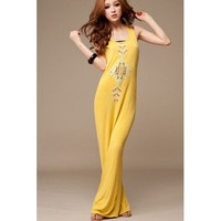 Charming O Neck Sleeveless Straight Floor Length Yellow Cotton Dress