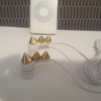 New Gold Pyramid stud earbuds