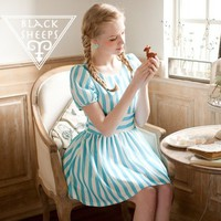 2 colors Chiffon Stripe Sweet Dress from Blacksheep