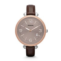 ES3132 - Heather Three Hand Leather Watch – Brown