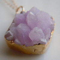 Druzy Necklace in Lavender Light Purple by 443Jewelry on Etsy