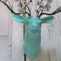 Wall mounted deer robins egg blue twig floral blossom antlers shabby chic cottage wall decor Anita Spero