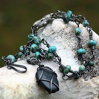 River Stone Lizard Artisan Necklace, African Turquoise with wire wraps