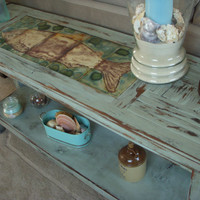Handmade Wood Table Shabby Beach Cottage Sofa by honeystreasures