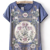 Rivet Vintage Floral Print T-shirts For Summer