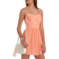 Mesh Chevron Stripe A-Line Dress: Charlotte Russe