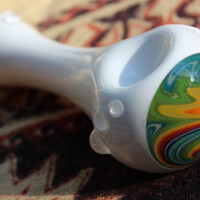 Hand Blown Glass Pipe / Spoon  Rainbow Within A by KarmaGlass