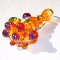 Inside Out Glass Pipe with Amber Frit and by JensArtCreations