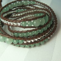 Aventurine Leather Wrap Bracelet- 5 Wrap Chan Luu Style | LidaVain - Jewelry on ArtFire