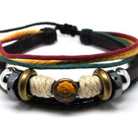 Soft Leather Bracelet with Color Bead Women by braceletcool