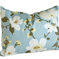 Blue and White Floral Pillows Decorative by PillowThrowDecor