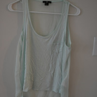Mint Soft High Low Tank with Chiffon Back