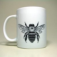 small mug in bright white with honey bee. ready to ship.