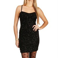 SALE-Black Glitter Glam Mini Dress