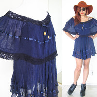 Vintage blue navy off shoulder gauze hippie bohemian boho festival lace crochet collar sheer summer mini dress babydoll