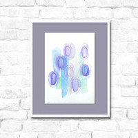 Watercolor Painting - original abstract fine art - pastels - blue green purple - geometric - ombre circles - modern fine art
