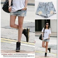 Liotus@ Women Light Blue High Waist Loose Flange Hole Crimping Jeans Denim Shorts