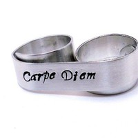 Personalized 2 Finger Ring Silver Name or Initial by MerCurios