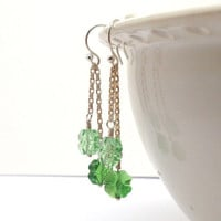 Shamrock Earrings Long Dangle Green Swarovski by GirlBurkeStudios