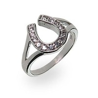 Sterling Silver Cubic Zirconia Lucky Horseshoe Ring Size 9 (Sizes 4 5 6 7 8 9 Available)