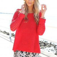 Red Long Sleeve Knit Sweater with High Neckline