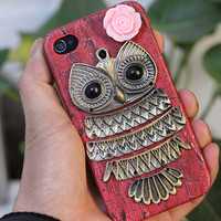 Antique Brass Owl And Pink Resin Flower Hard Case by moonboat