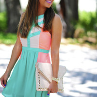 The Devyn Dress: Jade/Neon Coral | Hope's