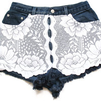 High waisted shorts with lace, lace shorts S