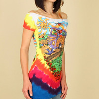 GRATEFUL DEAD Dancing Bears Summer Tour Tie Dye Tunic T Shirt
