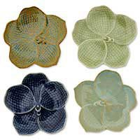 Celadon ceramic plates - Orchids (set of 4) - NOVICA