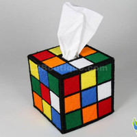 Rubik's Cube Tissue Box Cover  as seen on The Big by L2Boutique