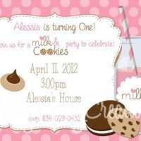 Pink MILK And COOKIES Invitation For Birthday, Baby Shower - 3 To Choose - U PRINT
