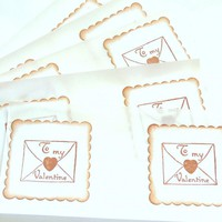 Vintage Inspired To My Valentine Envelope Seals/Stickers - Set Of 10