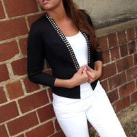 Black Studded Blazer | The Rage