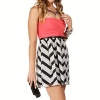 Fuchsia/Black/White Colorblock Dress