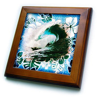 3dRose - Spiritual Awakenings Surfing Art - Giants large wave and sufer art - Framed Tiles