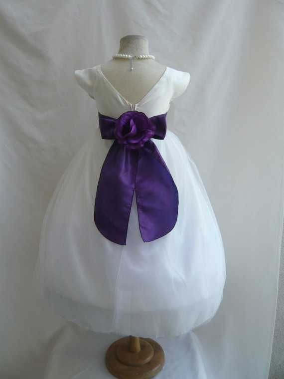 Purple And Ivory Wedding Dresses : Flower girl dress vb ivory purple wedding from mykidstudio on