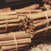 Cinnamon Sticks Photography, Food Photography, Spice photography, still life photography, kitchen art print  5x7, 8x12
