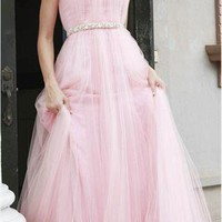 Stunning Beaded Pink Tulle Prom Evening Dress from MDress