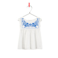 TOP WITH EMBROIDERED FLOWERS - T-shirts - Baby girl - Kids - ZARA United States