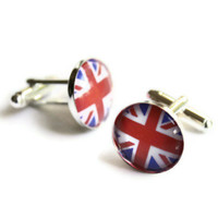 Union Jack Cufflinks, Wedding Cuff Links, British Flag Groomsmen Gift