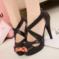 Solid Women Strappy Platforms High Heels Sandals Stiletto Zip Open Toe Shoes