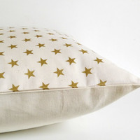 Cream and gold pillow, metallic gold stars print on ivory organic cotton throw pillow, cream cushion cover, star pillow