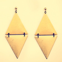 triangle earrings, geometric earrings, tribal earrings, triangle jewelry