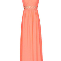 Rooftop Garden Cutout Maxi Dress - Neon Coral -  $65.00 | Daily Chic Dresses | International Shipping