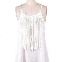 Fringe With Benefits Tank - White -  $36.00 | Daily Chic Tops | International Shipping