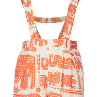 Safari Zoo Print Pinafore Playsuit - Playsuits - Clothing - Topshop