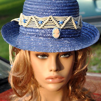 Blue Straw Hat-Summer Sun Hat-Hand Decorated Head Band of Macrame And Cameos-Country Western Style