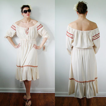 VINTAGE NOS 1970s Prairie HIPPIE BoHo Dress Billowy Ruffles Extra Large